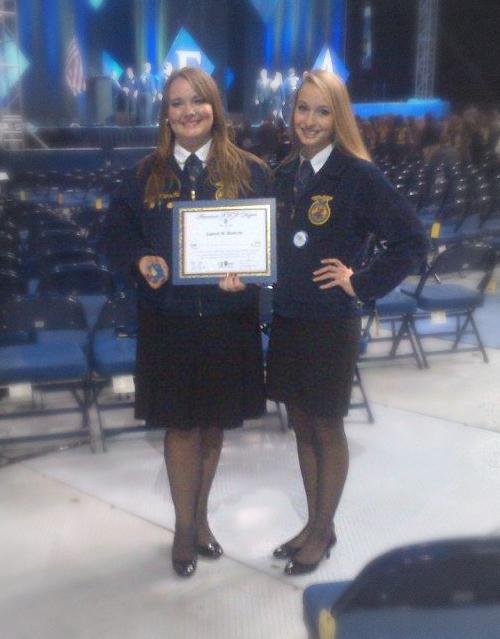 Lauren receives her American FFA Degree.
