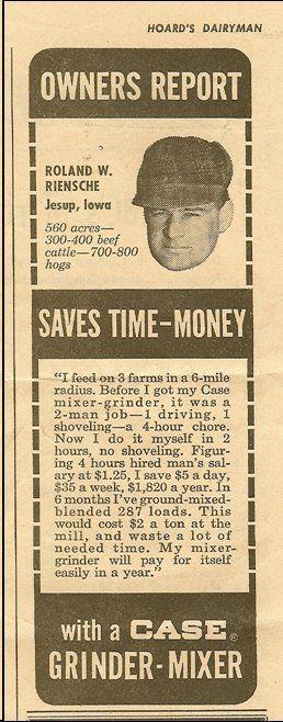 Roland Riensche in a 1964 Hoard's Dairyman ad.