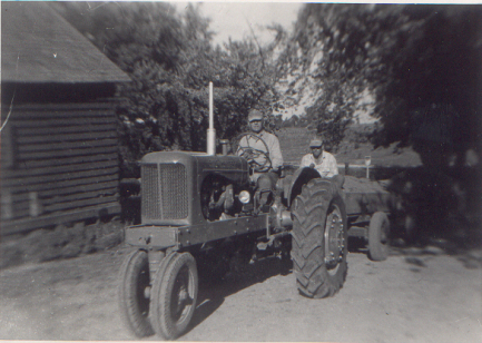 Tractor and wagon.