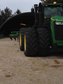 A tractor from the BDFC fleet and a piece of mysterious trial equipment from John Deere.