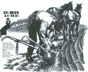 John Deere steel plow advertisement.